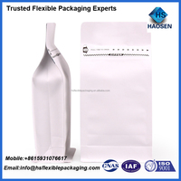 wholesale aluminium foil coated kraft pouch for coffee packaging/white kraft paper food coffee bag