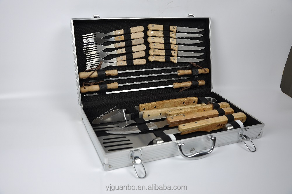 Hot sell 22 piece s stainless steel bbq set with aluminum case gb026 wooden handle barbecue utensil factory wholesale