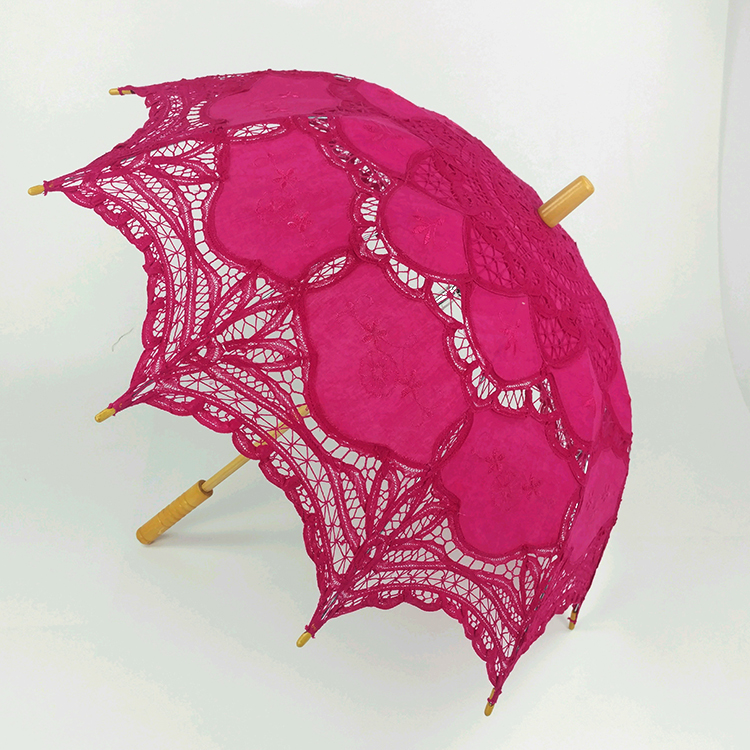 Rose red lace umbrella for wedding