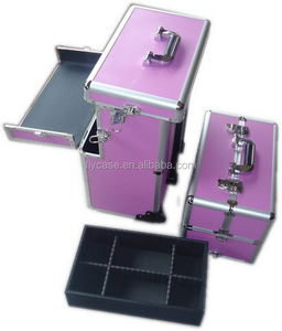 professional aluminum nail polish trolley case beauty case with carrying