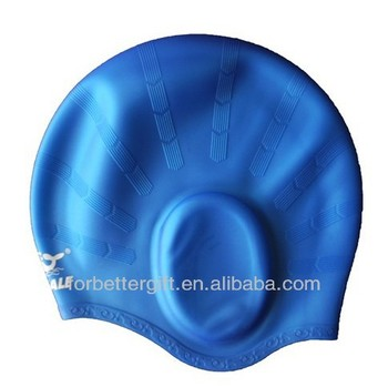 Ear safe silicone swimming cap