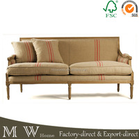 natural oak wood frame stripe fabric sofa, french sofa with red stripe linen fabric, stripe fabric sofa