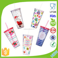 24oz Double Wall Plastic Straw Cup/ hot sale tumbler with straw