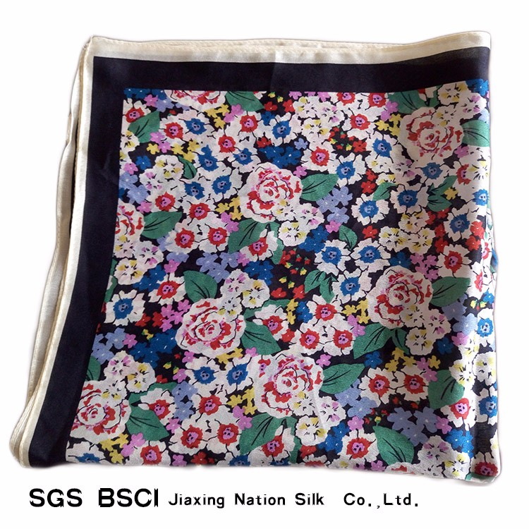 Silk small flowers printing scarf for girls