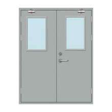 Hospital Steel 3 hour fire rated glass door with visibal panel