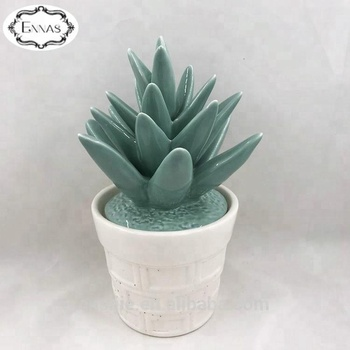 Ceramic faux succulent plant park restaurant decor with pot