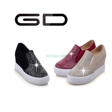 GD black suede thick sole height increase 2016 new style shoe