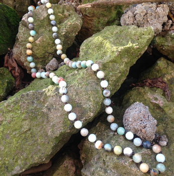 ST0261 Natural stone boho jewelry 8mm Amazonite Stone Making 32 inch long Knotted beaded necklace for women