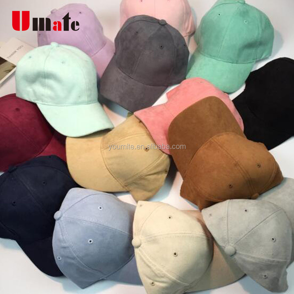 blank custom suede baseball cap 6 panel suede hat
