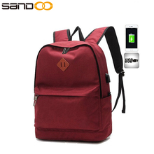 Tear-resistant lightweight nylon school casual usb charging backpack