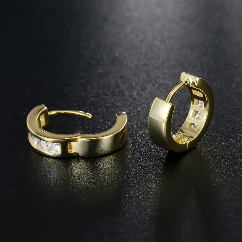 SJ Women Gold Jewelry Wholesale Small Huggie Earrings Square Cubic Zirconia Channel Setting Gold Color Ring Earrings 2017