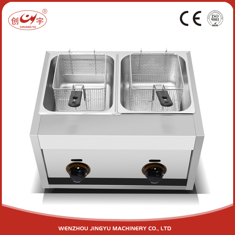 Chuangyu 2017 Wenzhou Hot Products Auto Fried Chicken Gas Deep Fryer With 2 Basket 2 Tank