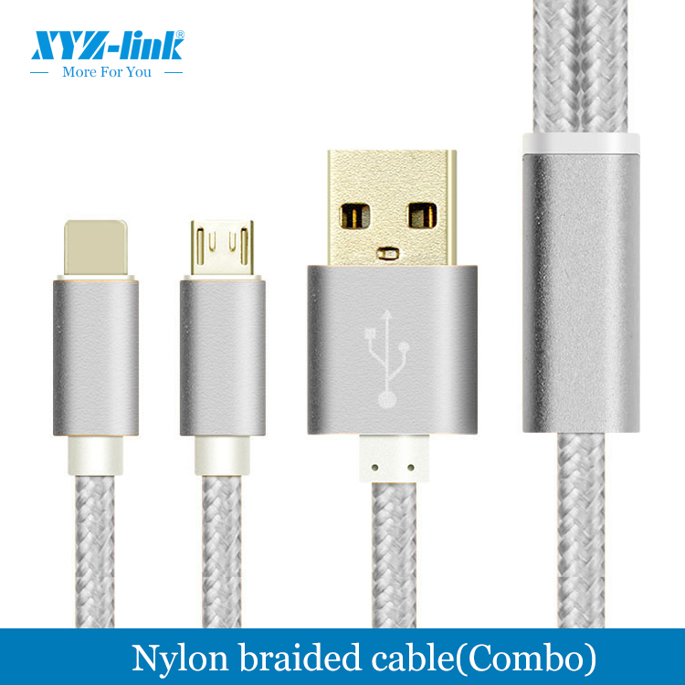 Super speed Factory direct braided usb data charger sync cable 2 in 1