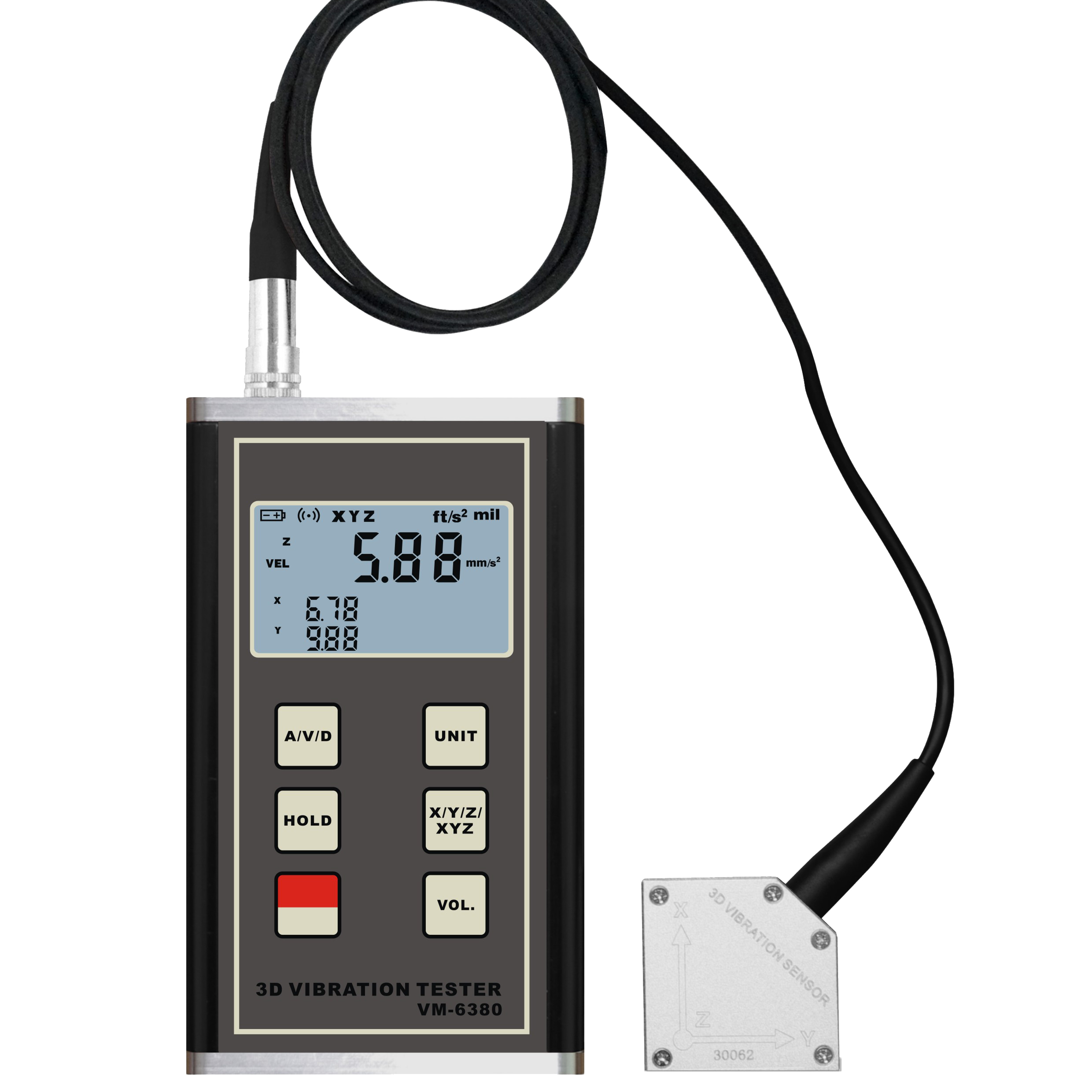 LANDTEK New Vibration Meter VM-6380 for <strong>3</strong>-Axis X <strong>Y</strong> Z Digital 3D Vibration hour meter