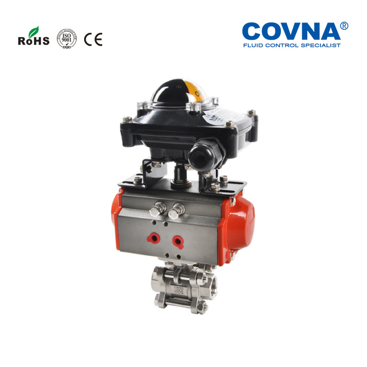 Good quality stainless steel 304 indicator limited switch pneumatic actuator ball valve