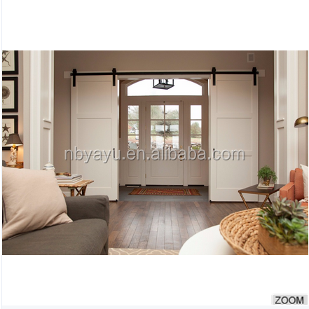Horizontal 3 Panels White Painted Knotty Alder Interior Sliding Barn Doors