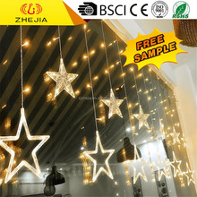 Low Price warm white christmas outdoor curtain led light, wedding decoration star shape light curtain
