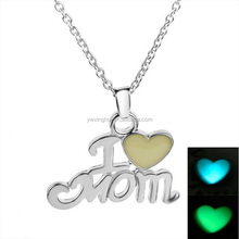 Mothers Day Gifts Cheap Silver Plating Glow Dark I Love Mom Necklace