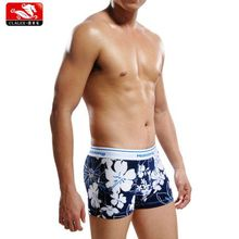 High Quality Men Nylon Spandex Pirnt Boxershorts With Elastic Waistband