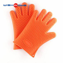 JianMei Brand kitchen cooking grilling heat resistant bbq gloves silicone oven mitts 5 fingers design silicone bbq glove