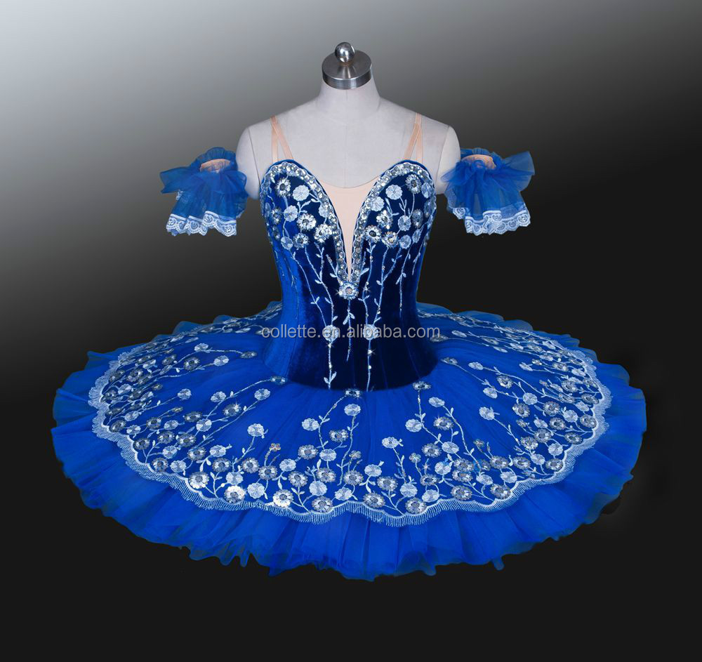 New !! BLY1151 -- Blue velvet girl's professional ballet tutu / Blue velvet classical tutu for stage dance wear
