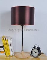 small table lamp, bedside table lamp, chrome finished, wood round base, color hardback lamp shade
