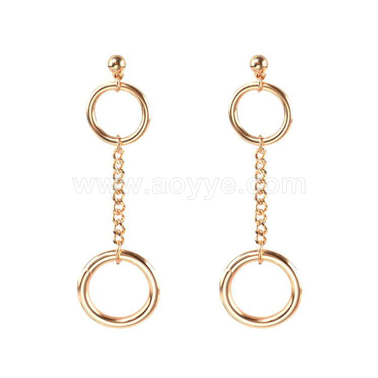 Hot design women fashion beautiful popular geometric elements metal ring earrings