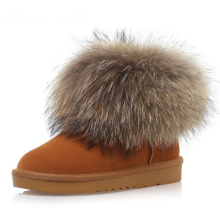 Hot selling in bulk fox fur women snow platform boots wholesale lady warm winter boots