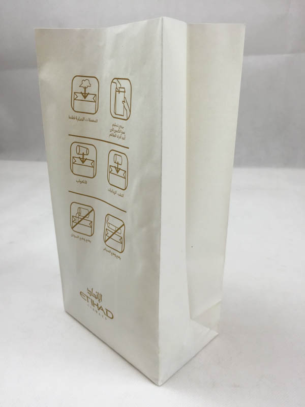 square bottom airsickness paper bag disposable standing airline airsickness bag