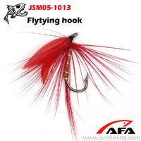 Wholesale flytying hook with feather,flyfishing tied hook