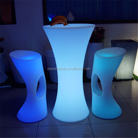 Rechargeable led illuminated plastic glowing coffee lighting table with glass