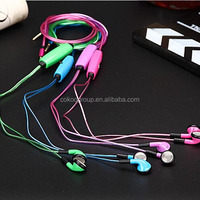 light earbuds 3.5mm stereo EL light bassbuds earbuds, Glowing flash micro earphone