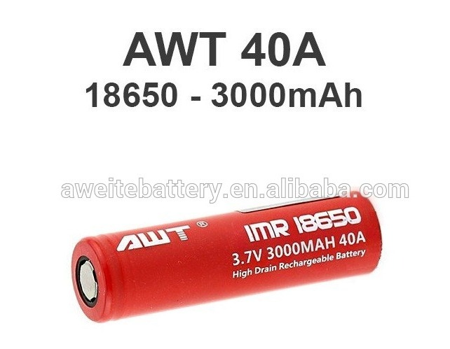 Big Discount AWT RED 18650 3.7V Rechargeable Battery 3000mAh for Laser pen, LED Flashlight