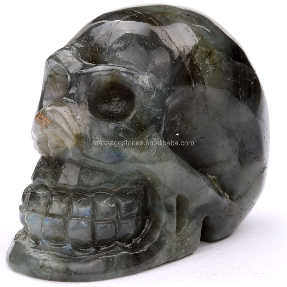 Hot selling crystal craft gift: craved labradorite jasper stone skull