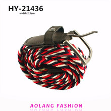 Fashion cotton braided elastic strech belt with alloy buckle belt