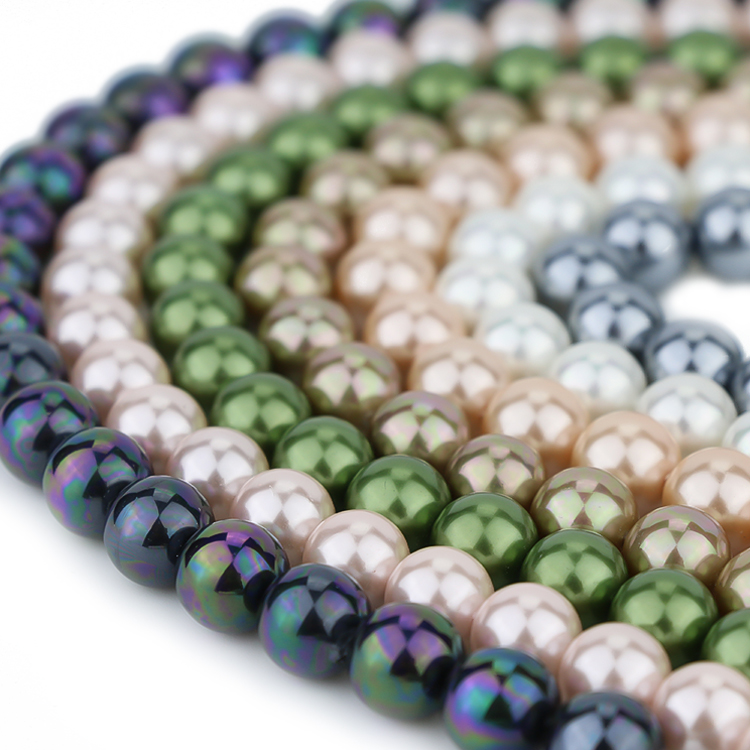 Wholesale multi-color sea shell round loose mother of pearl beads strands for handcraft DIY jewelry