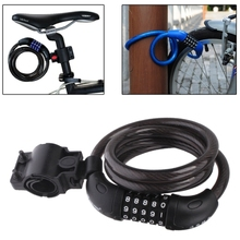 ABS + steel wire 5 Digits Bicycle Motorcycle Steel Wire Lock Strip