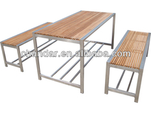 stainless steel table with teak top combined type