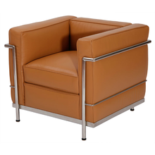 <strong>Modern</strong> leather Le Corbusier brown aniline leather LC2 armchair