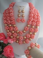 Specially designed for bride!!! round light pink coral beads jewelry set