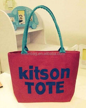 Hot export zipper closure red Canvas tote bag blank with cotton rope