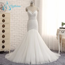 China Custom Made Beading Pleat Tulle Rhinestone Wedding Dress
