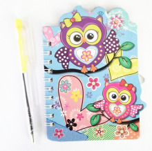 school notebook with pen ,dairy book for kid ,small note book