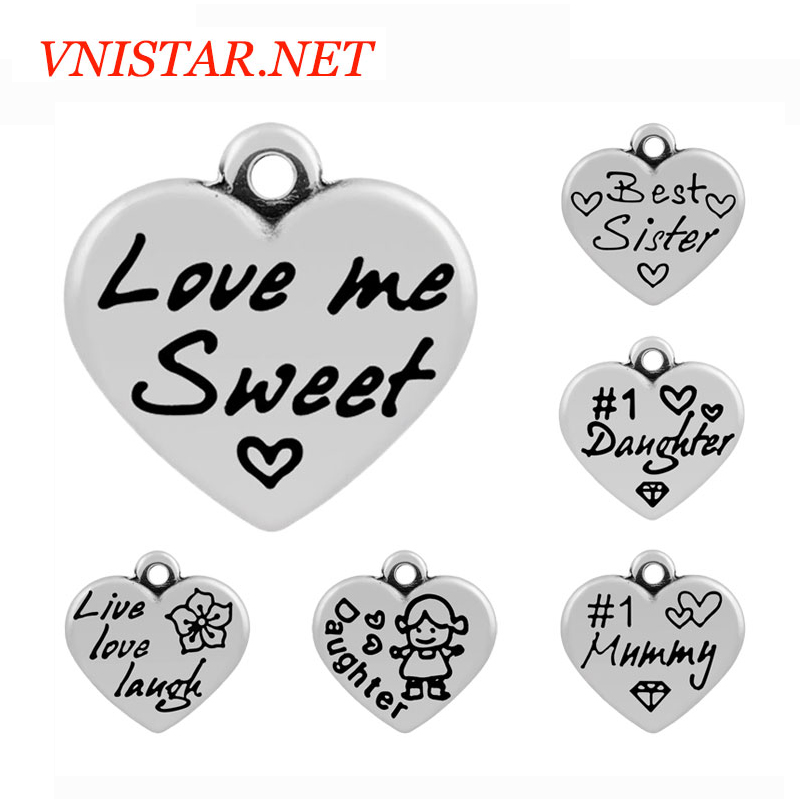 Factory Wholesale Mix 50 Styles Stainless Steel Family Love MOM Sister Friend Hope Faith Peace Courage Believe Heart <strong>Charms</strong>