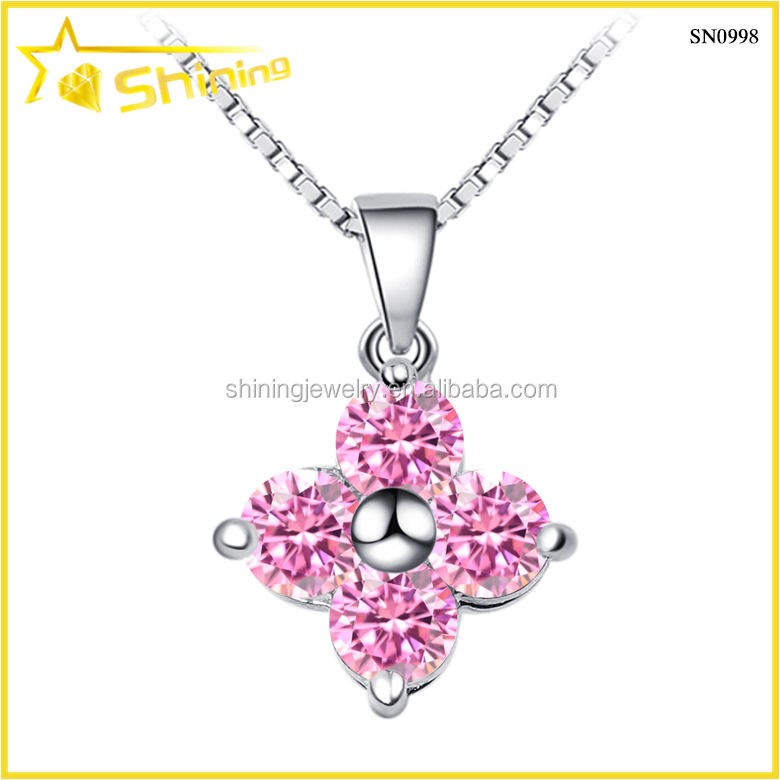 classical jewelry with pink cz flower shape jewelry zirconia necklace simple