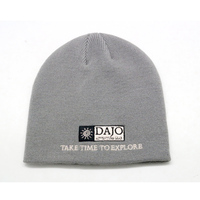 plain gray custom knitted beanie hat with woven label logo