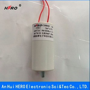 Best selling China HERO low price 3uF 450V CBB60 sh motor running capacitor