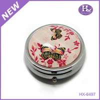 New Product HX-6497 Butterfly Round Metal mini 1 Month travel box pill