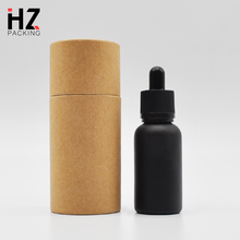 Free samples! 15ml 30ml frosted glass bottle black glass dropper bottle with tube cardboard for essential oil