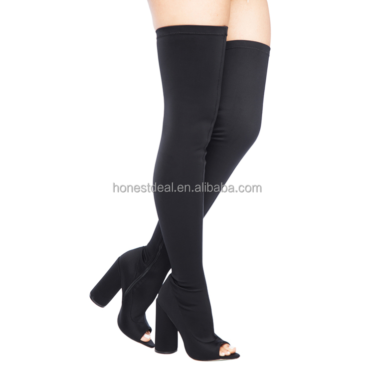 Hot buy women open toe black paddy Lycra side zipper chunky heel thigh high anti-slip plus size sexy boots
